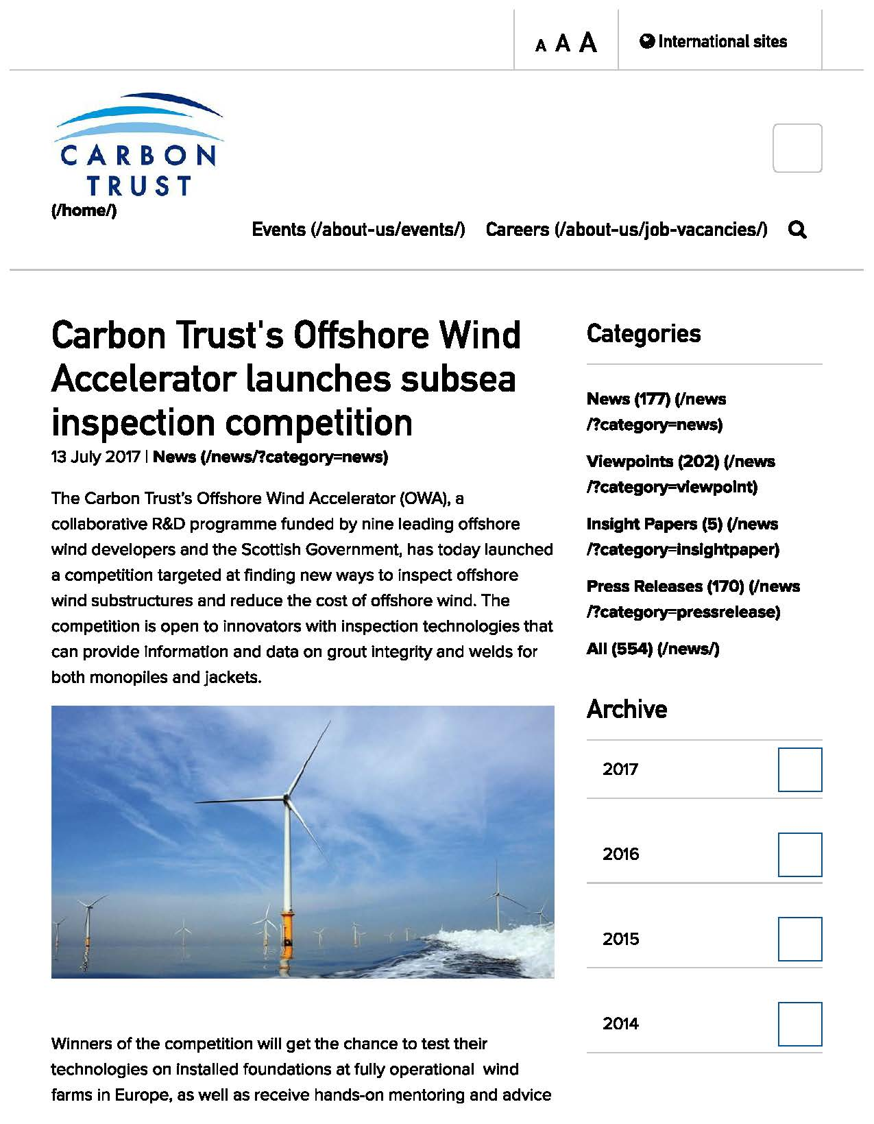 Carbon Trust's Offshore Wind Accelerator Launches Subsea Inspection Competition